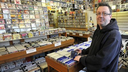Chris Mortimer, manager of Out Of Time Records, Fore Street, Ipswich.
