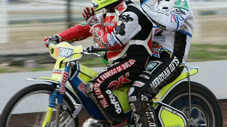 Kenneth Bjerre, pictured giving a lift to Hans Andersen, has signed for Peterborough Panthers