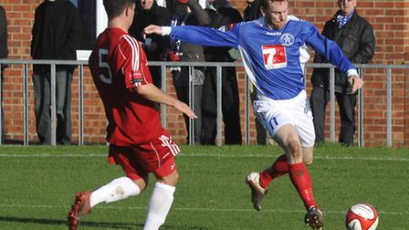Leiston's Patrick Brothers, right, is expected to be fit to return for Leiston at Hampton & Richmond