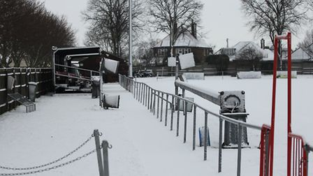 The wintry scene at the Goldstar Ground, home of Thurlow Nunn League Premier Division side Felixstow