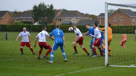 Action from Hadleigh United's 3-1 win at Brantham Athletic earlier this season. Both sides are still