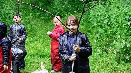 Pupils from Robins and Wrens class visiting the woods in Banham. Picture: Angela Sharpe