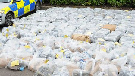 An estimated two tonnes of cannabis seized by police