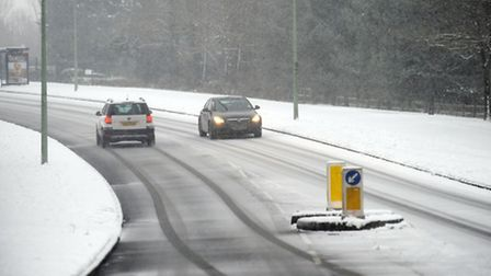 Snow falls in West Suffolk. Slippery roads after more snow fall on the Moreton Hall estate in Bury.