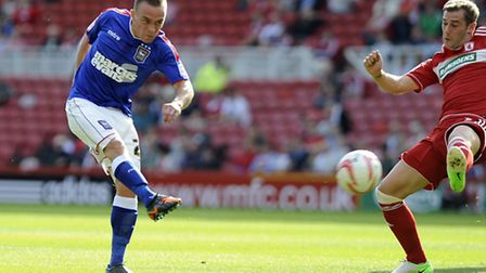 Paul Taylor's taking on a first half chance at The Riverside on Saturday