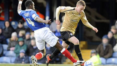 Freddie Sears is brought down by Pompey defender Sam Sodje for a 15th minute penalty, which he duly