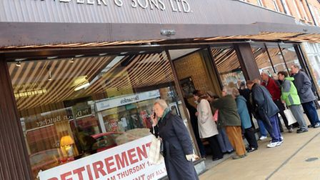 Queues at Candler and Son in Hamilton Road, Felixstowe, during the store's last days as the company