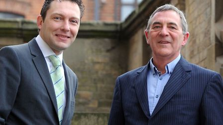 ohn Dugmore, chief executive of Suffolk Chamber of Commerce, left, and Roger Barcham, chairman of th