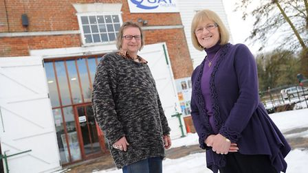 Quay Theatre board members Nicki Murphy and Simon Frampton outside the 300-year-old building
