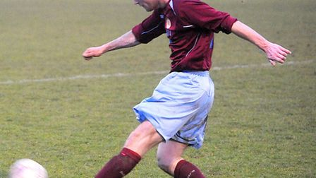New AFC Sudbury signing Lee Townrow in action for former club Stanway Rovers