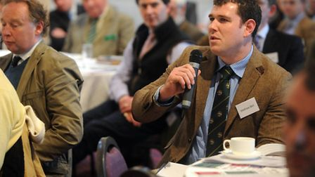 Members of the audience ask panel speakers address questions at the annual Suffolk Agricultural Asso