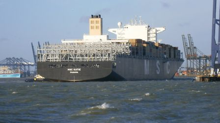 The MSC Katie - named after a woman from Felixstowe visits her home town port.