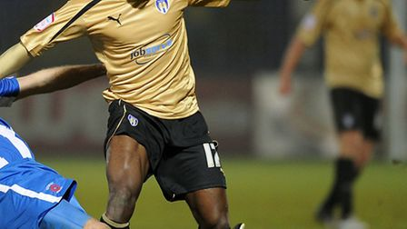 Jabo Ibehre, pictured evading the challenge of Hartlepool defender Sam Collins on Tuesday night. He