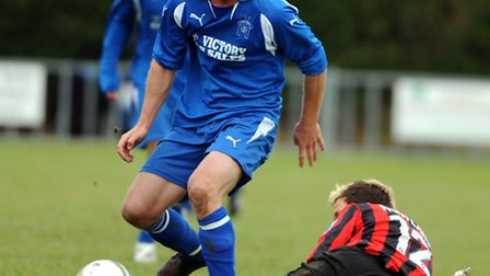 Marc Lowe, pictured in his Leiston days, has been praised by Achilles manager Lee Osborn