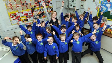 Laura Wilbourn is pictured with pupils at Stradbroke Primary School. Laura is nominated for teacher