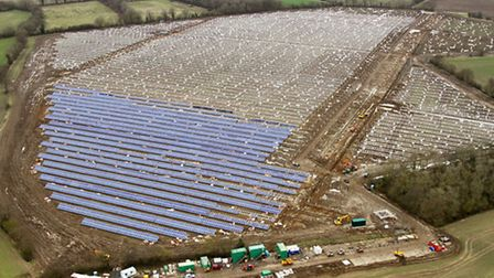 Aerial picture from Mike Page showing the size of a 60-acre solar farm being built on farmland to th