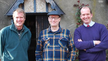 Aspall owners Barry (right) and Henry Chevallier Guild (left) with Ade Edmondson.