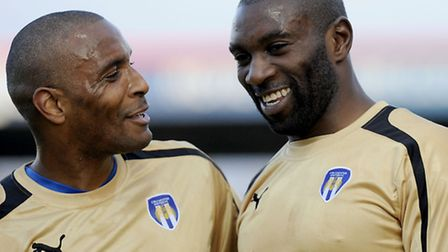 Jabo Ibehre (right) is congratulated by Clinton Morrison after his two goals at Stevenage