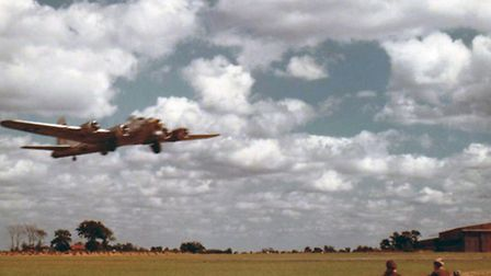A 95th Bomb Group B17 takes off from Horham airfield during the Second World War