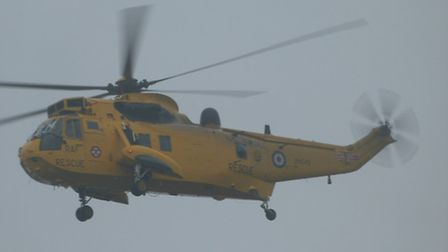 The RAF Rescue Helicopter in flying action