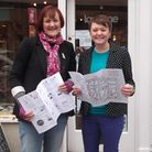 Cathy Frost of Love One and Jess Bradley of Berry Blue Hat with the Vintage Ipswich walking map