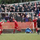 Tunbridge Wells fans and players celebrate their first goal. Picture: Steve Waller