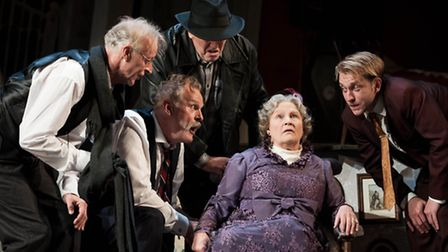 Michele Dotrice, Clive Mantle, Paul Bown, Chris McCalphy and William Troughton in The Ladykillers. P
