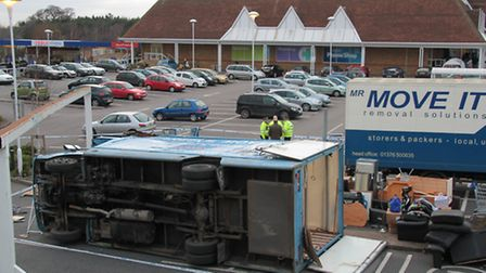 The scene of the accident at the Tesco Copdock car park which saw a removal van overturn, photograph