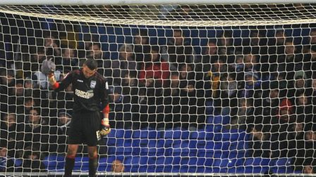 Stephen Henderson shows his despair after Watford score a second goal.