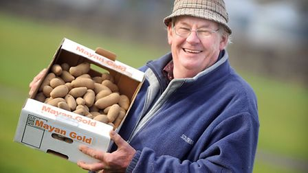 Volunteer Roy Nichols with a box of humble spuds at the East Anglia Potato Day