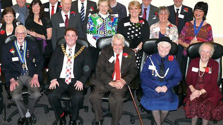 The winners of the Pride of Tendring Awards with Tendring District Council chairman Danny Mayzes a