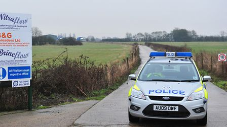 Police carry out their investigations at the business premises in Upgate Road, Seething
