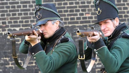 95th Rifles re-enactment group set up camp at Landguard Fort in Felixstowe. Paul Durrant and Frank M