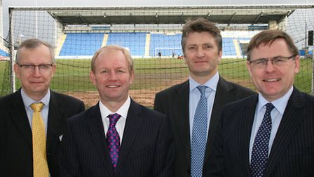 Phil Eckersley, Peter Harrup, Guy Longhurs and Lewis Chambers at Colchester United
