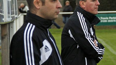 Felixstowe & Walton United manager Kev O'Donnell (foreground) and assistant manager Jason Pettit