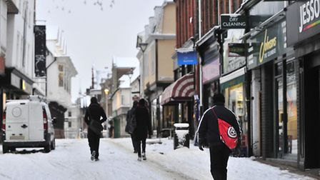 Ipswich town centre covered in snow earlier this year