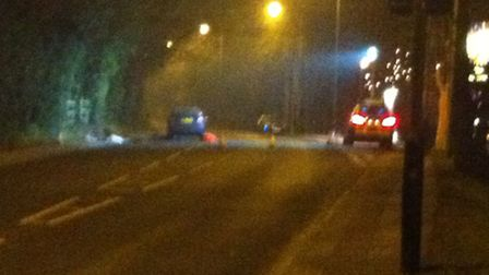 The scene of the accident in Lowestoft last night