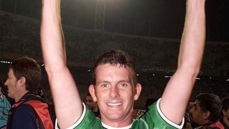 Mark Kinsella, celebrating a World Cup qualifier play-off success against Iran ahead of the 2002 Fin