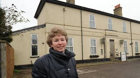 Rosamund Webb outside the old station house in Campsea Ashe.