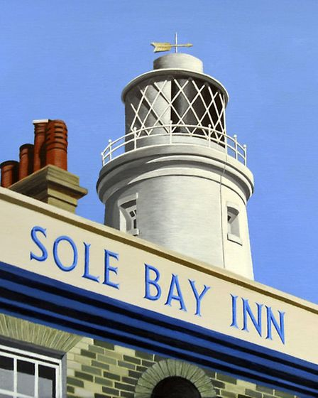 Reunion Gallery, Gainsborough Road, Felixstowe. Sole Bay Inn and Lighthouse by Linda Kingsford.
