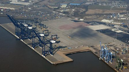 """The Port of Felixstowe's newest extension - the """"finger quay"""" would be added to the southern end at"""