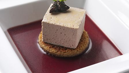 Chicken liver gâteau with port and onion chutney