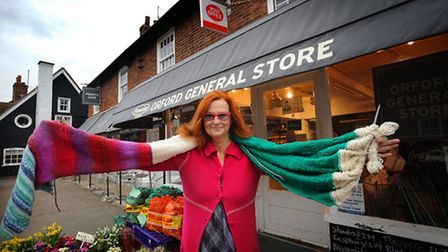 Penny Teale who runs Orford General Store has been knitting a giant scarf. The shop greatly support