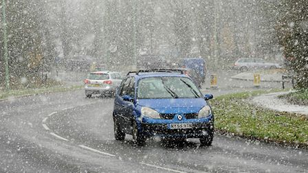 27/11/10; Heavy snowfall makes driving difficult near Sainsbury's on the Moreton Hall Estate in Bury