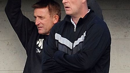Robbie Benson, right, who has stood down as manager of Long Melford