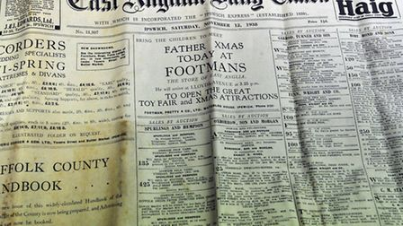 How the front page of the East Anglian Daily Times looked 75 years ago in 1938.