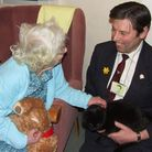 Ray Chaplin, of Battisford, is taking round his pat cat Barney to hospitals and care homes across th