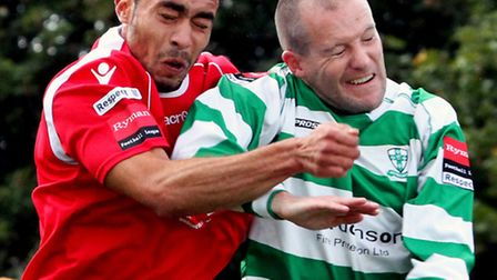 Needham Market manager Danny Laws has praised Duane Wright, left, pictured in action against Waltham