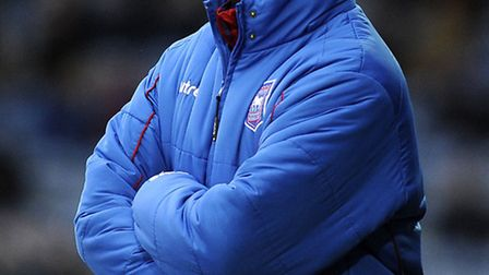 Ipswich Manager Mick McCarthy shouting instructions to his players at Huddersfield