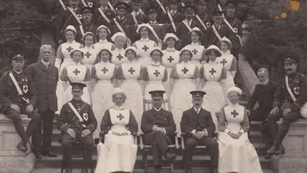 Members of the Red Cross Ambulance Class of 1914, taken at Sudbourne Hall where a military convalesc